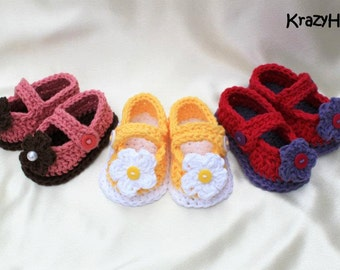 Crochet MaryJanes Booties with Flower.