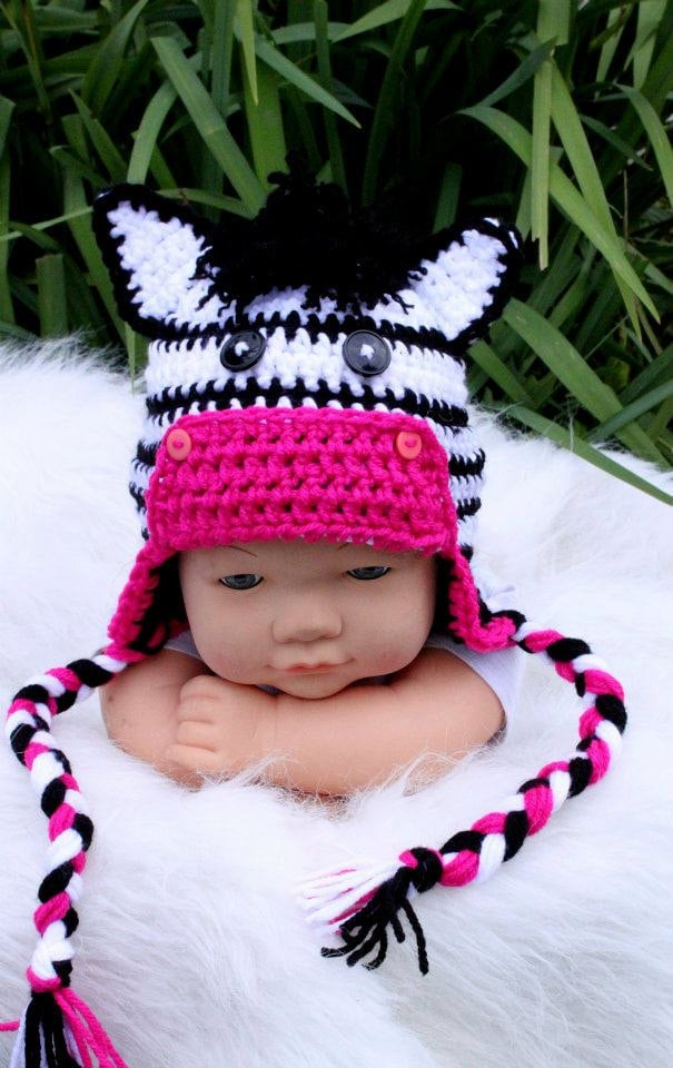 Crochet Baby Zebra Hat Pattern : Crochet Zebra hat.Made to order.Size:Newborn to Adult