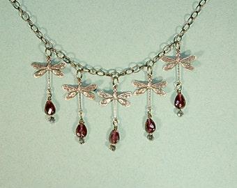 5 Dragonfly, Heart Garnet Necklace