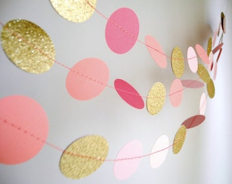 Gold Pink garland, glitter garland, circle paper , pink baby shower decor, nursery decor, girl birthday party garland
