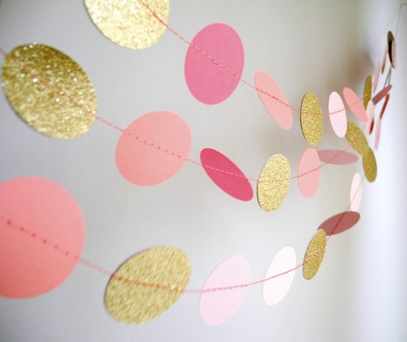 Gold Pink garland, glitter garland, circle paper , pink baby shower decor, nursery decor, girl birthday party garland