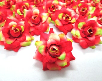 12 Green Red mini Roses Heads - Artificial Silk Flower - 1.75 inches - Wholesale Lot - for Wedding Work, Make Hair clips, headbands