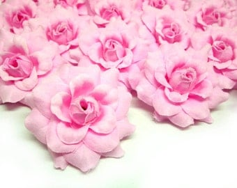 24 Pink mini Roses Heads - Artificial Silk Flower - 1.75 inches - Wholesale Lot - for Wedding Work, Make Hair clips, headbands