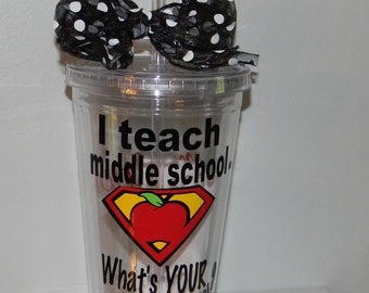 Personalized Middle School Teacher Gift tumbler 16oz BPA free