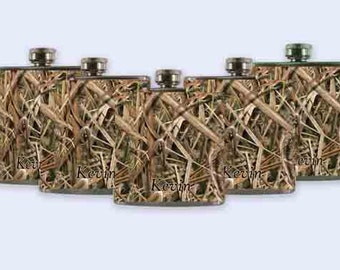 Groomsman Flask. Groomsmen gift, SEVEN Mossy Oak Camo, Mossy oak, flask set, groomsmen flasks, flask, flasks, flask set