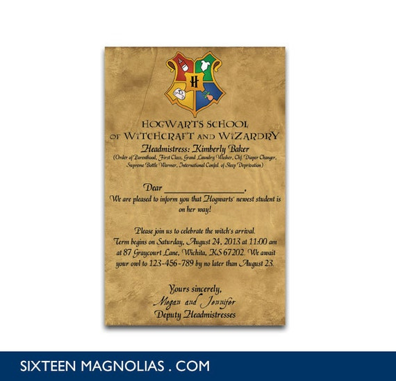 Harry Potter Baby Shower: Harry Potter Hogwarts Letter Baby Shower By Sixteenmagnolias