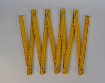 Yellow Vintage German Folding Ruler.