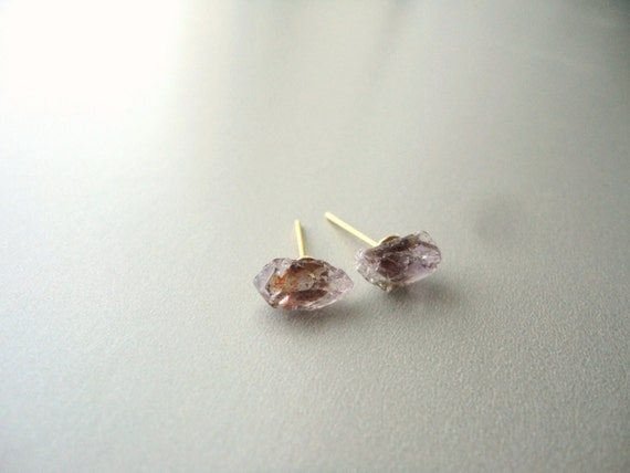 Raw Amethyst Chunk Earrings- gold plated posts