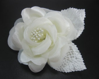 "Ivory Flower Hair Clip, 3"" Rose Hair Clip, Flower Girl Hair Accessories, Hairclip"