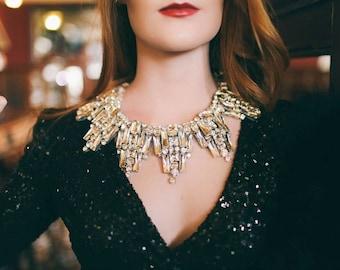Colbert - Art Deco Crystal Neckpiece (As seen in Brides Magazine)