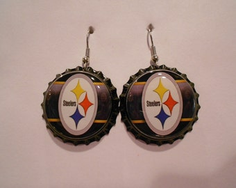 Pittsburgh Steelers bottle cap earrings