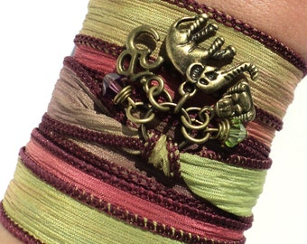 Bohemian Silk Wrap Bracelet Ganesha Yoga Jewelry Fall Autumn Sacred Elephant Buddha Unique Gift For Her Christmas Under 50 Item X13