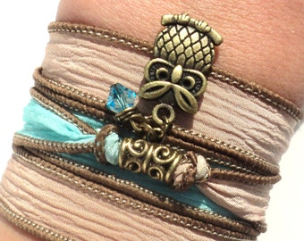 Owl Silk Wrap Bracelet Bohemian Aqua Blue Unique Gift For Her Protection Yoga Jewelry Daughter Teen Christmas Stocking Stuffer Item N13