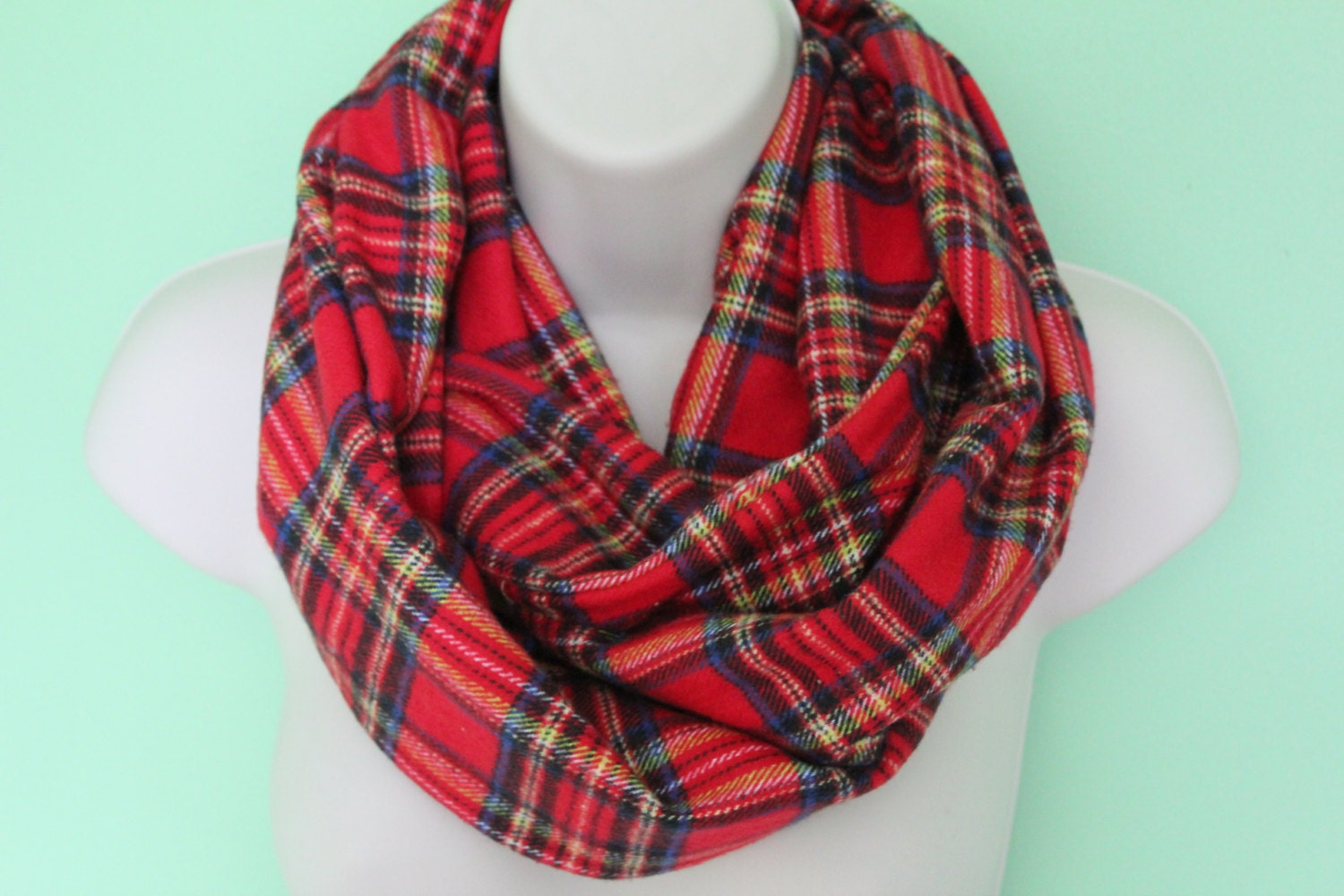red plaid infinity scarf flannel Infinity Scarf Circle Scarf