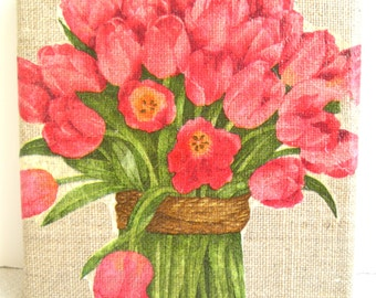 Very nice collage on canvas linen 12 x 12 cm (the Bouquet of tulips).