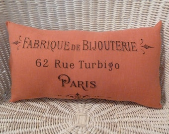 """Pillow Shabby Chic - REVERSIBLE - 16"""" x 9"""" French Typography - Hand dyed and stamped ribbon"""