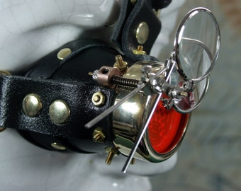Steampunk, monocle, brass, black, leather, brass nuts, magnifyers