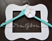 Custom Something Blue Wedding Dress Hanger with Hand Sewn Silk Flower