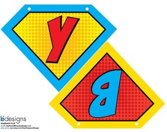 Superhero Banner Personalized Small (printable)
