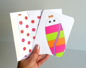 New Baby Girl Greeting Card for Newborn Girl Infant Girl Congratulations Greeting Card Lined Envelope for New Parents of Girl