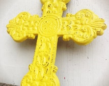 BOLD sunny yellow ornate medallion cross wall hanging // celtic cast iron art // rustic shabby cottage chic // religious // french country