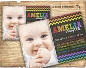 Rainbow party invitation - Rainbow birthday chalkboard theme invite- Rainbow art printable invitation