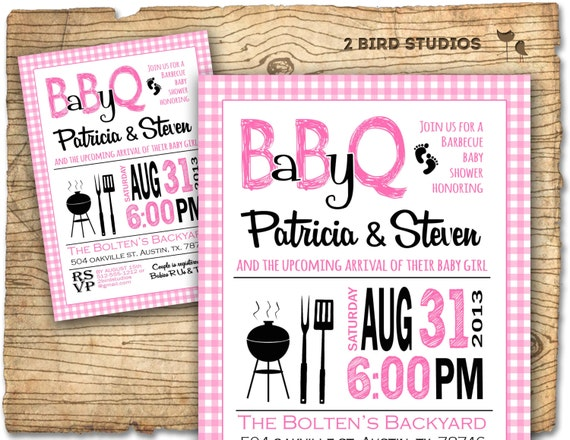 BBQ Baby shower invitation - Baby Q baby shower invite- COED barbecue couples shower - Printable DIY invite