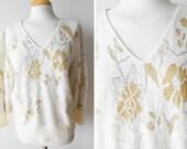 70s Lurex Vintage Sweater / Off White Colour / Golden Lurex Embroidery / Vintage Clothing / Size M