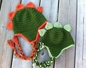 Dinosaur Hat Crochet Pattern - Newborn - Toddler - Child - Adult with optional heart