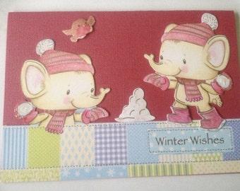Elephant card, Christmas card, glitter card, merry Christmas card, 3 D card, decoupage card