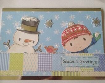Boys, snowman card, Christmas card, glitter card, merry Christmas card, 3 D card, decoupage card