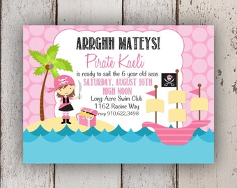 Pirate Girl Invitation (Pirate Princess, Ahoy Mateys)