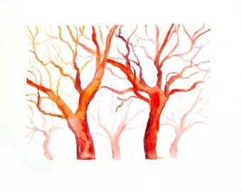 Watercolor trees original painting, contemporary art, red tree watercolor