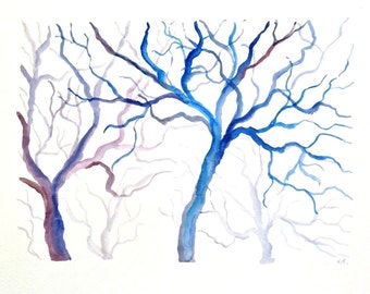 Blue watercolor trees original contemporary painting, watercolor tree