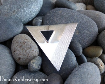 Sterling Silver Brooch Onyx Hand Engraved Hand Formed Sleek Geometric Triangle Simple Lines Statement Brooch Handmade