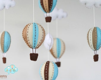 Blue and brown hot air balloons baby mobile - baby mobile