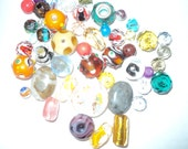 Destash - Mixed Lot of 50 Glass Beads - Lampwork - Gemstone - Crystal
