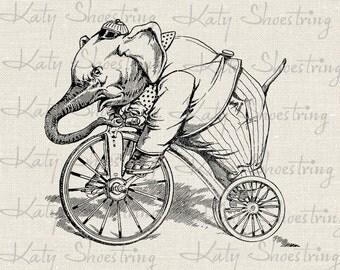 Vintage Elephant Riding Bike Tricycle Illustration Digital Image Download Transfer Collage Sheet Burlap Pillows Tea Towel Cards Tags