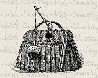 Vintage Wicker Fishing Creel Basket Clip Art, Digital Image Download, Image Transfer, Collage Sheet, Scrapbooking
