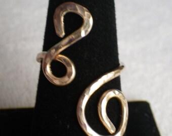 Adjustable Gold Swirly Ring