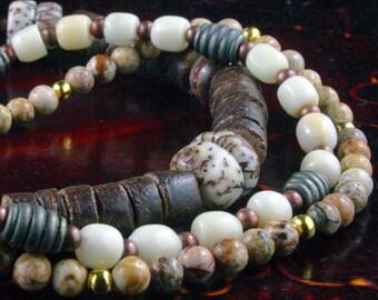 3 Yoga Bracelets -Mala Bracelets, Yoga Jewelry, Wrist Mala, Wrist Wrap, White Coral, Jasper, Meditation Bracelet, Om Jewelry, Free Shipping