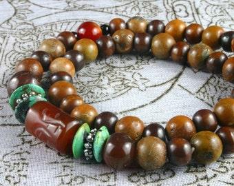 2 Turquoise Bracelets, 2 Wrist Mala, Jade Buddha Bead, Green Turquoise, Yoga Bracelet, Yoga Jewelry, Meditation, Om Jewelry, Beadwork
