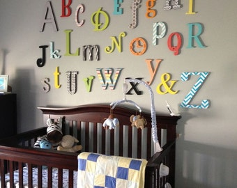 Sale- Alphabet Set -Unpainted Wooden Letter - Alphabet Wall- mixed fonts and sizes- ABC Wall- Gift- Baby Shower