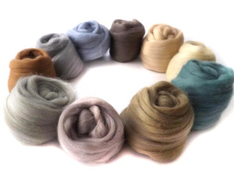 Merino Wool Tops - Felting - Spinning  - Neutral  - 21 micron - 100g - 3.5oz - ROCK POOL