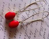 Red Rhinestone Earrings - Brass Kidney Wire Earrings - Old Hollywood - Dangle Earring - Statement Earrings - Prom - Mother's Day - Easter