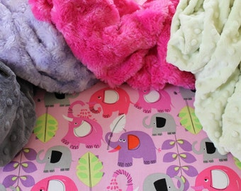 Elephant Minky Baby Blanket-Pachyderm Shower Pink-Michael Miller-Choose Your Own Minky-Baby Girl-Toddler Blanket