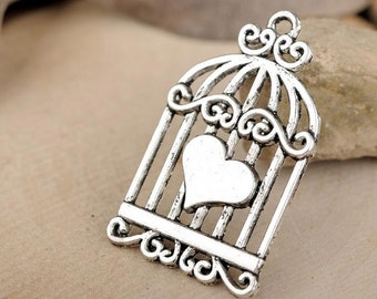 10pcs Antique Silver Bird Cage Birdcage Charm Pendant Jewelry Findings Supplies Craft Making DIY 40x34mm JM 0546