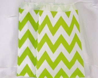 CHEVRON Lime Green Stripe Party Favor Bags- 75 Candy Buffet, Wedding, Baby Shower. Treat Bags