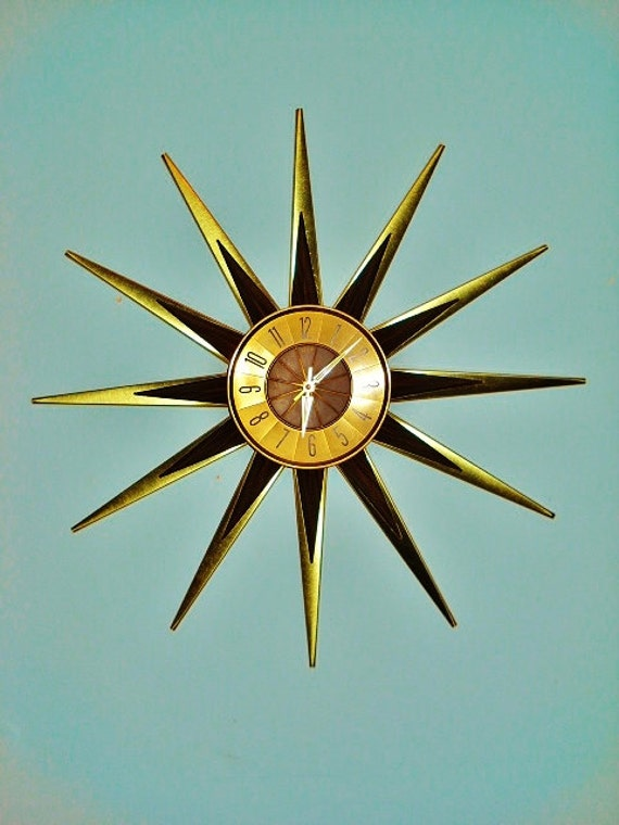 mid century modern starburst wall clock by elgin atomic wood