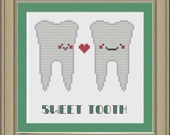 Sweet tooth: cute dental cross-stitch pattern